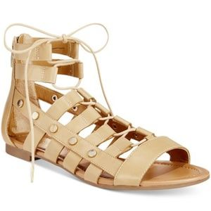 Tan Reese Lace Up Gladiator Sandals